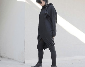 Loose Mid Klee Length Hooded Tunic, Oversize Maxi Black Top, Extra Long Sleeves Comfortable Dress, Everyday Cotton Midi Dress, Street Dress