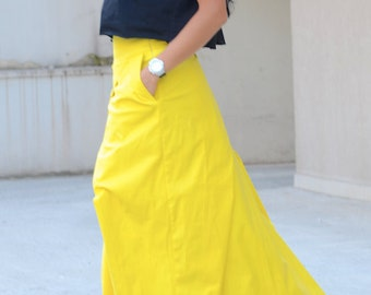 Lemon Yellow Long Festival Skirt from Soft Cotton, Full Length and High Waisted Bohemian Skirt with Pockets Maxi Extravagant Skirt for Party