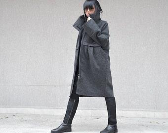 Grey Tailored Jacket  for Woman, Italian Gray Wool Coat, High Neck Coat, Extravagant Party Coat, Maxi Jacket, Long Sleeve Jacket Zipper Coat