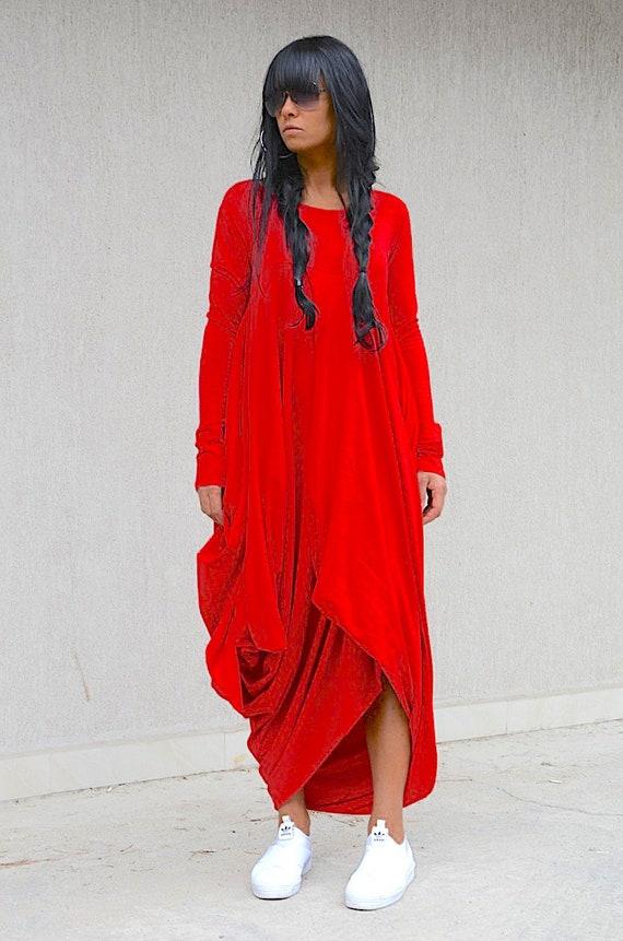 Red Maternity Maxi Dress With Long Sleeves Dubai Caftan Loose Etsy
