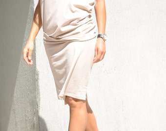 Minimalist Champagne Dress, Summer Short Sleeves Cream Dress, Ivory Knee Length Gown, Occasion Spring Maxi Dress, Beige Sexy Tight Dress