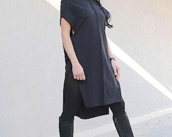 Comfortable Black Kurta Dress with High Neck and Short Sleeves, Mid Knee Length Party Dress, Bohemian Cotton Kurta Tunic Dress, Indian Kurta
