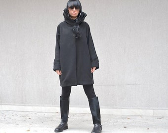 High Fashion Style Wool Coat, Luxurious Black Jacket, Designer Coat, Mod Comfy Coat, Custom Made Coat, High Fashion Hipster, Steampunk Coat