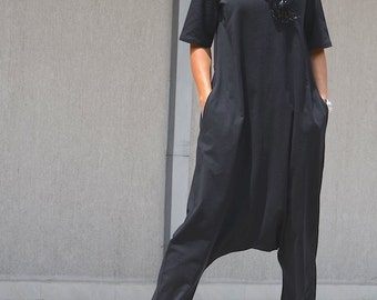 Classy Summer Romper with Two Sides, Slouchy Cotton Jumpsuit with Hood, Extravagant  Black Jumpsuits, Wide Leg Jumpsuits, Designer Jumpsuit