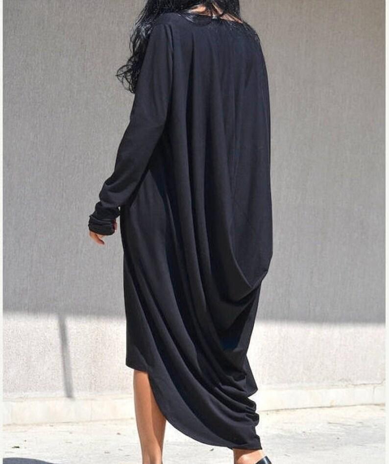 4a7c4851c158b Extra Long Sleeves Caftan, High Low Maternity Dress, Asymmetric Comfortable  Dress, Draped,Black Maternity Abaya, Plus Size Clothing Maxi Top