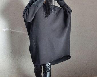 Dolman Sleeve Oversized Sweater, Black Extravagant Tunic, Maternity Loose Sweater, Custom Made Oversize Black Top, Extravagant Hooded Coat