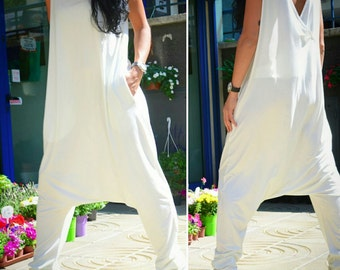 Maternity One Piece Summer Suit, Drop Crotch Maternity Harem Romper, Loose Sleeveless Maternity Overall, White Maternity Jumpsuit, Overalls