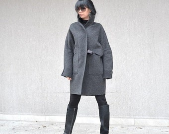 Exclusive Grey Belted  Italian High Neck Coat, Luxurious Ladies Wool Jacket, Elegant and Mood Coat for Plus Size Women, Comfy Style Jacket