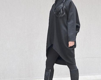 Drape Design Black Coat for Women, Wool Short Jacket, Minimal Warm Coat, Oversize Wool Coat, Simple Coat Ladies Coat Unique Coat Trendy Coat