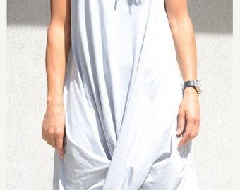 Hoody Knee Length Dress, Grey Maxi Sleeveless Dress, Draped Loose Dress for Oversized Women, Asymmetric Cut Dress Baggy Clothing Urban Style