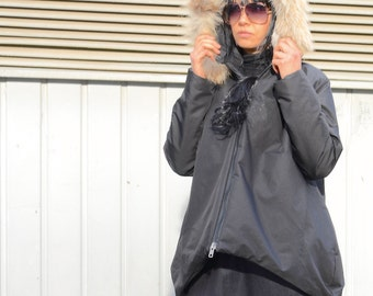 Winter Trending  High Neck Jacket for Ladies, Oversized  Zipped Jacket with Fur, Comfy Loose Maternity Jacket with Hood, Womens Winter Coat