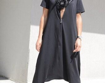 HAREM JUMPSUIT - STYLISH Dress - Hooded Drop Crotch Romper Jumpsuit - Plus Size Short Sleeves Romper - Zipped Black Bohemian Jumpsuit