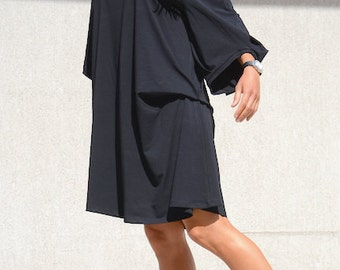 Asymmetrical Long Dress with Raglan Sleeves, Maternity Comfortable Loose Tunic, Mid Knee Length Maxi Summer Top Black Everyday Maxi Dress