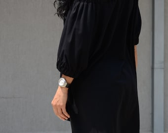 Sexy Black Off Shoulder Tee with Raglan Sleeves, Festival Cute Summer Crop Top, Extravagant Everyday Trendy Tee Shirts, Mod Summer Outfit