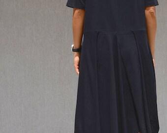 Avant Gard Loose Fit Dress, Bias Cut Black Dress, Knee Length Dress, Maternity Dress, Every Day Dress, Garden Party Dress Maxi Dress Sleeves