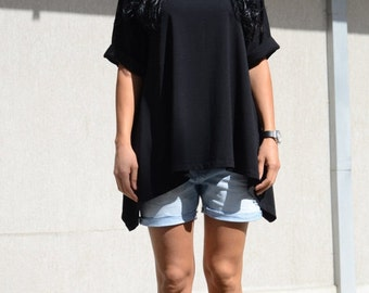 Loose Fitting Sexy Top, Cute Summer Tees, Extravagant Black Blouse, Trendy Top, Festival Blouse, Summer Outfit Summer Time Hello Summer Cozy