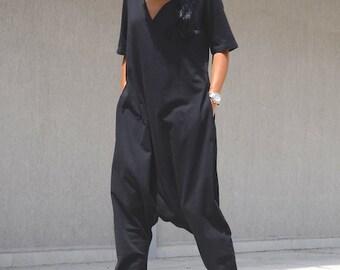 STYLISH JUMPSUIT - SHORT Sleeve Maxi Black Jumpsuit - Comfortable Black Harem V Neck Jumpsuit Gift For Women - Cute Maxi Jumpsuit