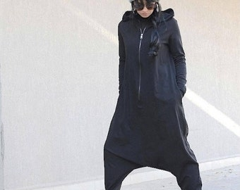 Oversize Low Crotch Woman Romper, Maxi Hooded Jumpsuit, Black Girls Harem Romper, Everyday Baggy Jumpsuit, Loose Overall for Ladies Jumpsuit