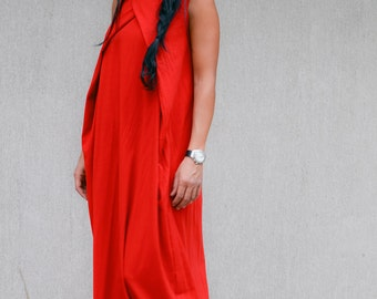 Maternity Soft Red Long Caftan Maxi Dress with Full Length, Sleeveless Bohemian Red Dubai Abaya with High Neck, Trending Plus Size Clothing
