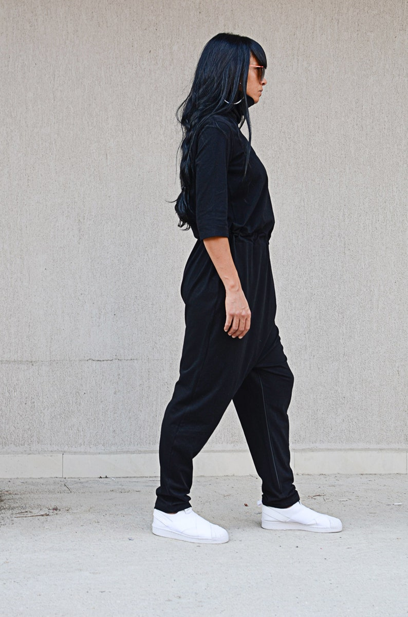 Black Loose Romper with High Neck and Raglan Sleeves Maxi Floor Length Romper Wed Leg Harem Overall Oversize Comfortable Loose Fit Romper