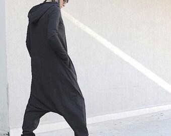 Black Cotton Harem Jumpsuit with Hood, Long Sleeves Overall, Warm Comfortable Jumpsuit, Oversize Woman Jumpsuit, Drop Crotch Jumpsuit, Comfy
