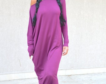 Asymmetric Caftan with Drop Shoulder Sleeve, Floor Length Loose Abaya with Long Sleeves, Extravagant Maxi Street Dress Comfortable Mod Dress