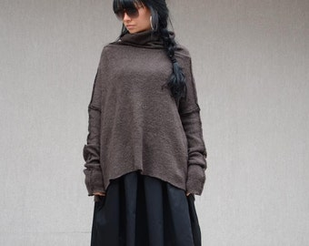 Tailored Warm Sweater with Asymmetrical Design, Baggy Sweater with High Neck for Fashion Lady, Casual Fall Winter Sweater, Winter Collection