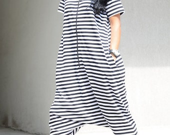 Scandinavian Style Low Crotch Maternity Romper, Loose Striped Harem Jumpsuit with Short Sleeves, Zipped Maxi Harem Overall with Hood, Comfy