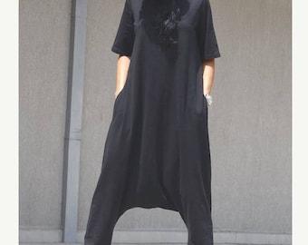 Drop crotch jumpsuit, harem jumpsuit, loose jumpsuit, draping jumpsuit, maxi jumpsuit, party jumpsuit, black jumpsuit, overalls