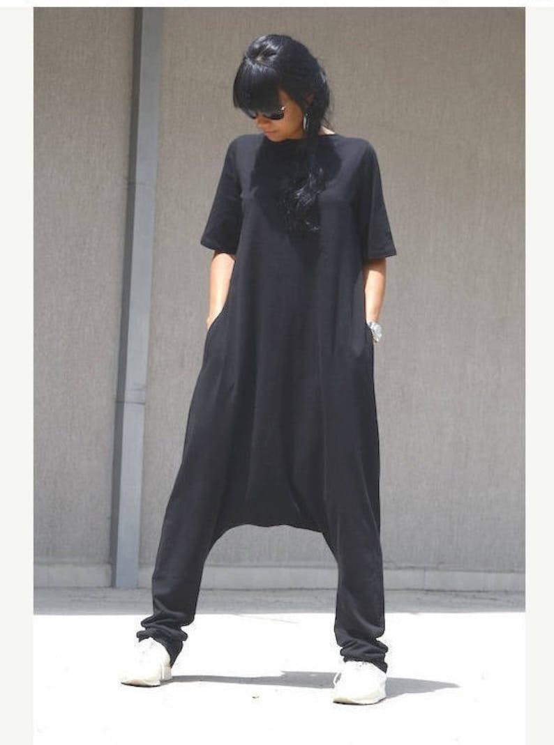 6cd03bb3301 Drop Crotch Harem Jumpsuit Loose Jumpsuit with Pockets