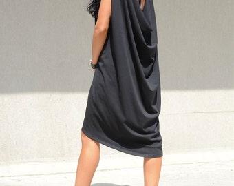 Maxi Open Back Dress Elegant, Maternity Black Tunic, Oversized Maxi Dress, Summer Knee Length Dress Fashion Black Dress Cozy Dress Elegance