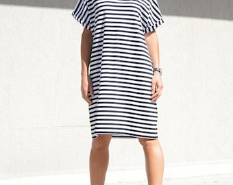 Scandinavian Style Dress for Summer Days,  Loose Fitting Mid Knee Dress with Short Sleeves, Shift Black and White Dress, Simple Striped Top