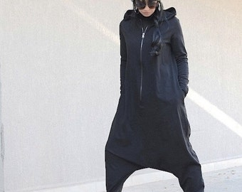 Oversize Adult Onesie Pijama with Hood, One Piece Woman Suit, Style Cotton Low Crotch Suit, Maternity Zipped Loose Romper, Festival Jumpsuit