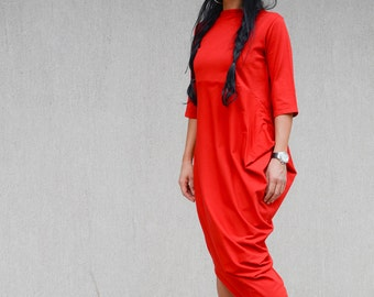 PARTY DRESS - ASYMMETRICAL Dress - Stylish Loose Urban Style Plus Size Dress - Summer Clothing - Red Modern Festival Dress For Women