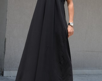Special Occasion Open Back Long Gown, Black Loose Floor Dress, Unique Bridesmaid Dress, Cocktail Loose Fitting Dress Photography Gown Dress