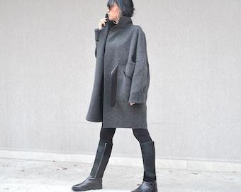 Original Fashion Wool Jacket, Hot Pocket Grey Coat, Italian Style Belted Winter Coat, Simple Coat, High Neck Coat Long Sleeve Coat Midi Coat