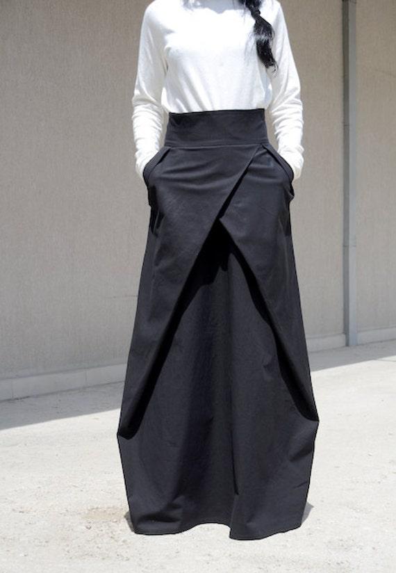 Flowy Maxi Skirt With Pocket Evening Bridesmaid Skirt High Waisted Skirt High Fashion Skirt Floor Length Skirt Cotton Skirt Large Skirt