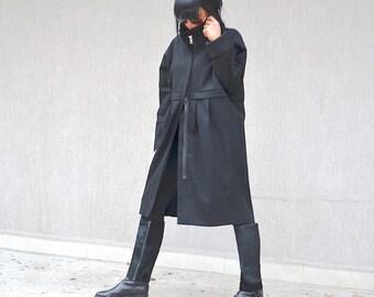 Fall Winter Wool Jacket, Ladies Warm Coat, High Neck Jacket, Oversize Black Coat Handmade Coat Winter Cozy Coat Oversize Zipper Loose Jacket
