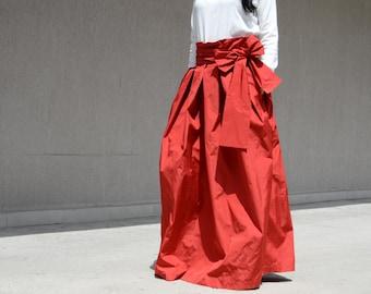 Oversize Asymmetrical Orange Skirt, Unique Drape Skirt, Bridesmaid Trendy Skirt, Handmade Full Length Skirt, Romantic Skirt, Fashion Skirt