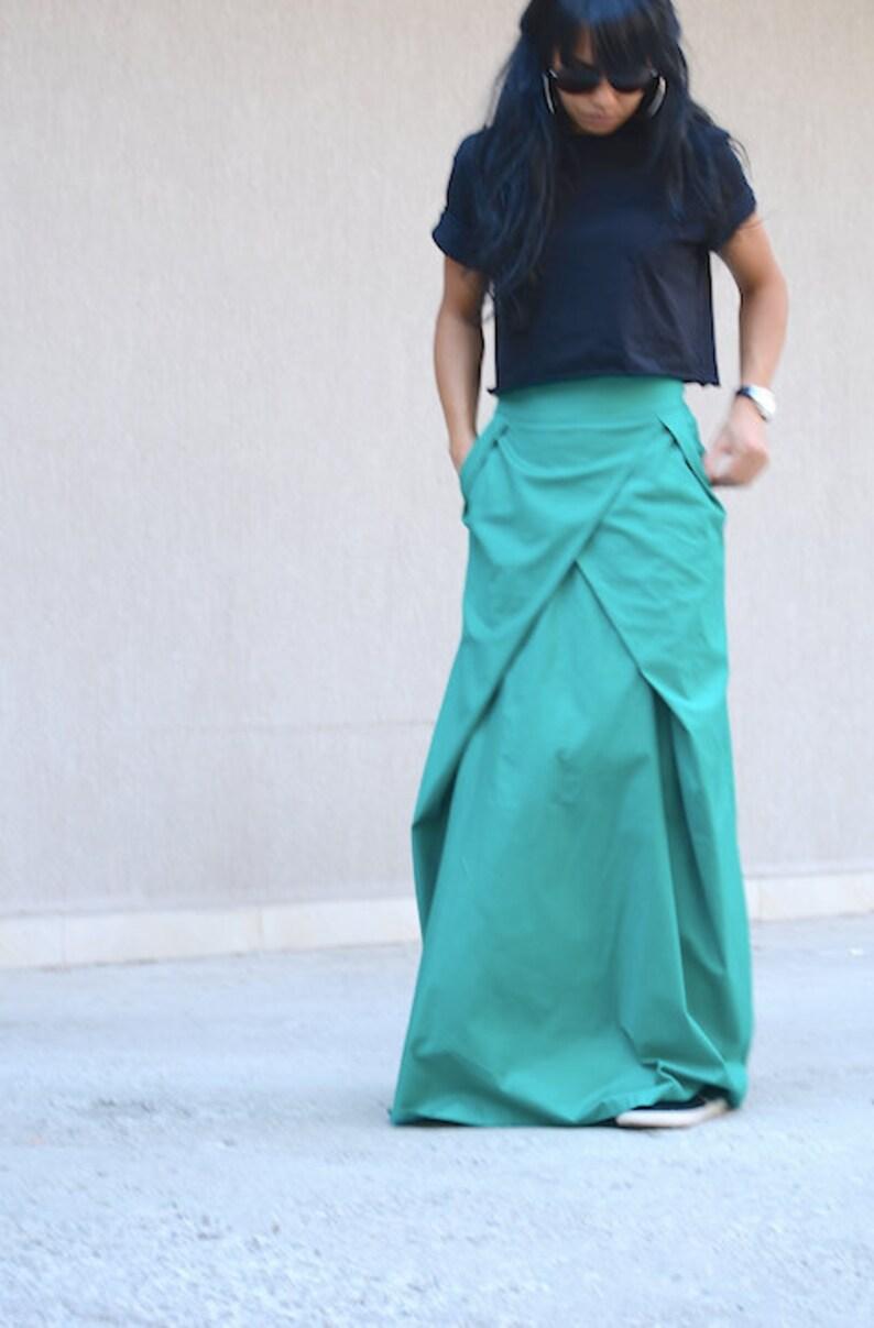 9b7d61b3368e40 Moderne Turquoise hoge taille rok Boho Maxi rokken lange