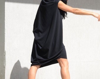 Black tunic for plus size women, short sleeves maxi dress, cotton oversized tunic, blouse for everyday, asymmetrical designed draped dress