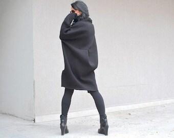 Plus size winter top tunic, oversized women loose sweater, black elegance, stylish women sweater dress, turtle neck sweater, black dress