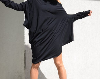 Oversize Black Dress with Extra Long Sleeves, Off Shoulder Cotton Tunic Dress, Asymmetrical  Loose Maxi Top with Dolman Sleeves, Comfy Dress
