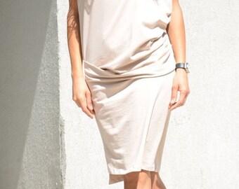 Prom Midi Tight Dress, Short Sleeve Summer Tunic, Mid Knee Oversized Tunic, Minimalist Sexy Dress, Beige Sexy Tight Dress, Ivory Maxi Gown