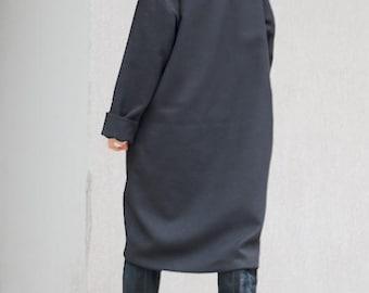 Asymmetrical Coat for Women, Amazing Long Jacket, Maternity Warm Jacket, Unique Coat, High Neck Jacket Women Black Coat Mid Knee Length Coat