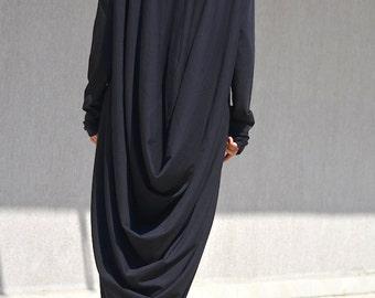 High Low Cotton Dress,Black Casual Elegant Dress, Long Sleeves Dress, Maternity Plus Size Clothing, Oversized Maxi Dress, High Low Dresses