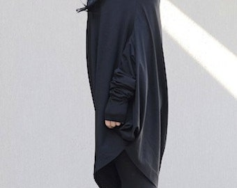 Cotton Off Shoulder Top with Bat Sleeves, Asymmetric One Shoulder Long Tunic, Oversized Black Dress with Extra Long Sleeves, Mid Knee Tunic