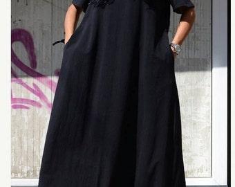 Bohemian Black Cotton Dress, Loose Fit Summer Caftan, Plus Size Patterns, Trending Plus Size Fashion, Urban Clothing, Slouchy Clothing Cozy