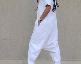 White Double Side Floor Length Overall with Short Sleeves, Cotton Harem Romper with V Neck, Open Back Maxi Jumpsuit, Comfy Xoxo Jumpsuits