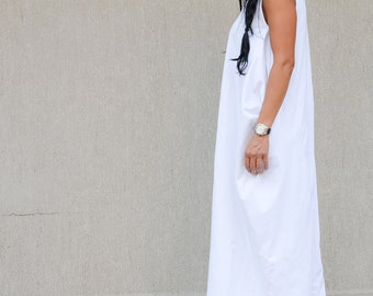 White Maxi Sleeveless Maternity Dress, Simple Wedding Dress, White Evening Floor Length Dress, White Bohemian Dress, Casual Wedding Dress